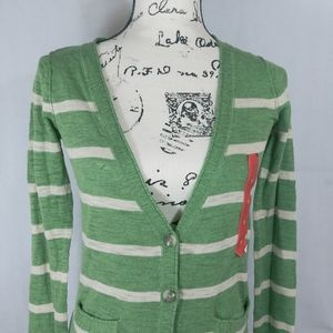 Mossimo  Green & White Striped Button Up Cardigan